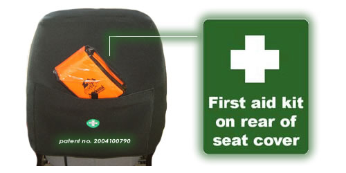 First aid kit on rear of seat cover